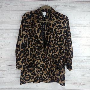 Ellison leopard open front Blazer M